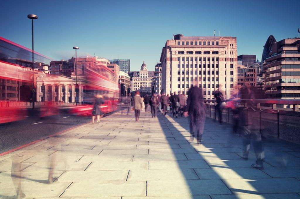 London Bridge with people and busses