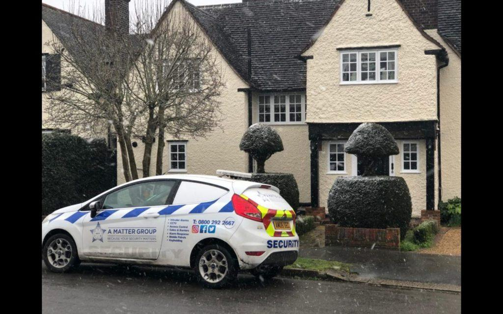 A Matter of Security vehicle outside house